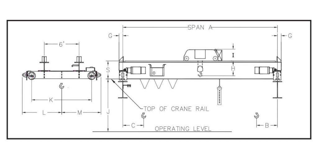 uesco double girder top running dual motor stationary axle crane